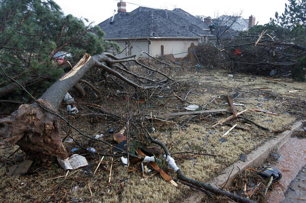 Tornado-damaged home near Sorghum Mill and Kelly, Tuesday , February 10, 2009.  By David McDaniel, The Oklahoman