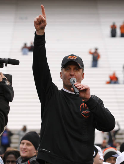 Oklahoma State coach Mike Gundy addresses the crowd after the Heart of Dallas Bowl football game between Oklahoma State University and Purdue University at the Cotton Bowl in Dallas, Tuesday, Jan. 1, 2013. Oklahoma State won 58-14. Photo by Bryan Terry, The Oklahoman