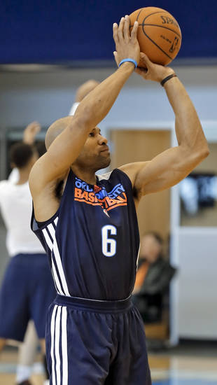 NBA BASKETBALL: Oklahoma City Thunder&#039;s Derek Fisher works out at the Thunder practice facility on Tuesday, Feb. 26, 2013, in Oklahoma City, Okla. . Photo by Chris Landsberger, The Oklahoman