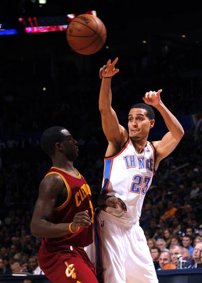 Oklahoma City's Kevin Martin (23) and Cleveland's Dion Waiters (3) during the NBA basketball game between the Oklahoma City Thunder and the Cleveland Cavaliers at the Chesapeake Energy Arena, Sunday, Nov. 11, 2012. Photo by Sarah Phipps, The Oklahoman