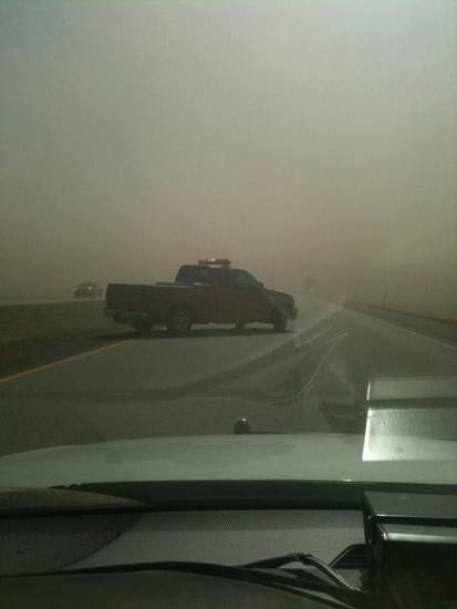Blackwell emergency workers respond to an  accident outside of town on Interstate 35. A dust storm  caused visibility issues. Photo provided by Blackwell Police Department <strong> - Photo provided by Blackwell poli</strong>