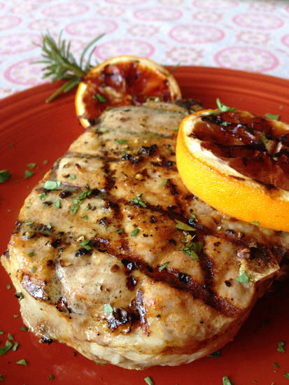 Griddled Porterhouse Pork Chops with Blood Oranges