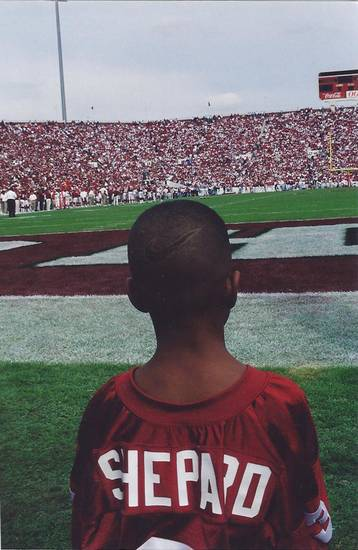 Sterling Shepard at a Sept. 23, 2000, game against Rice during which the 1985 Oklahoma championship team was honored. Sterling&#039;s father, Derrick Shepard, played on the 1985 team. PHOTO  PROVIDED