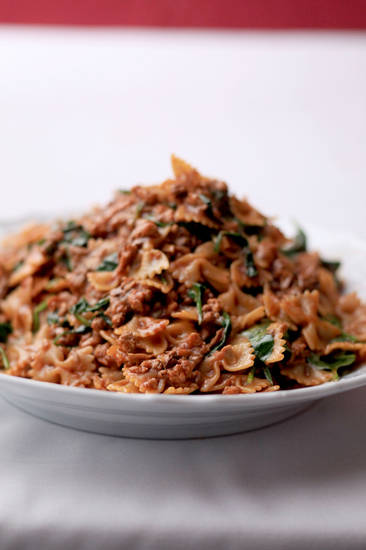 Farfalle Abruzzese with veal, porcini and spinach is a deeply flavored comfort dish.   MCT Photo