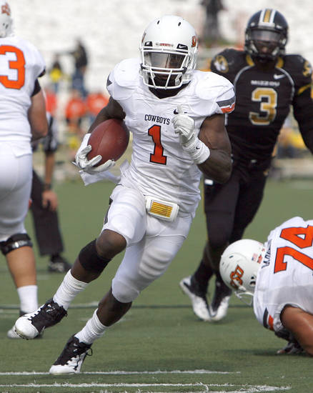 Oklahoma State's Joseph Randle (1) runs up field during a college football game between the Oklahoma State University Cowboys (OSU) and the University of Missouri Tigers (Mizzou) at Faurot Field in Columbia, Mo., Saturday, Oct. 22, 2011. Photo by Sarah Phipps, The Oklahoman