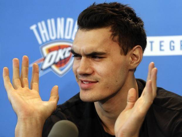 Steven Adams speaks at the Thunder's exit interviews. / Photo by Steve Gooch