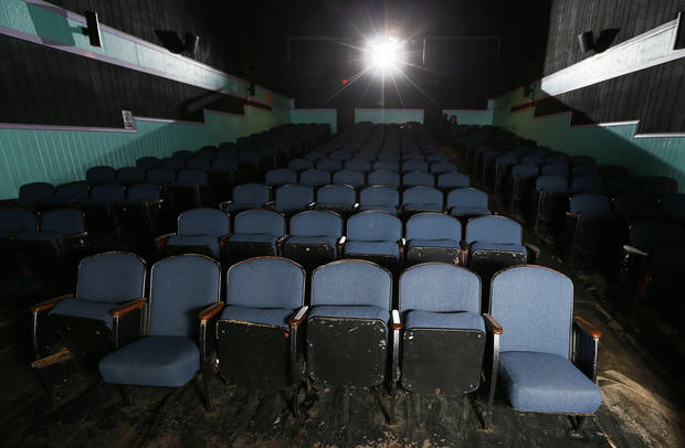 A view inside the Time Theatre in Stigler. The community is raising $100,000 to convert the theater to digital and keep it open. <strong>NATE BILLINGS - THE OKLAHOMAN</strong>