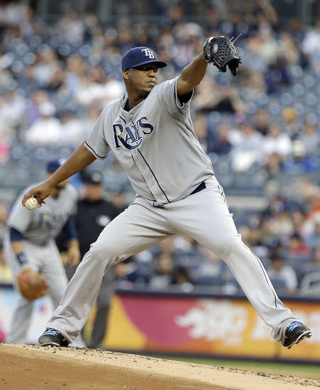 Tampa Bay Rays' Roberto Hernandez delivers a pitch during the first inning of a baseball game against the New York Yankees, Friday, June 21, 2013, in New York. (AP Photo/Frank Franklin II)