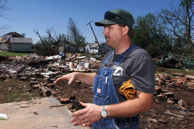 Tornado victims, damage: Troy Withey, new pastor of First Baptist Church of Mulhall, moved into this parsonage at 4:00 p.m. Monday.  Five hours later a tornado destroyed the house and all of his and wife Trena's possessions.
