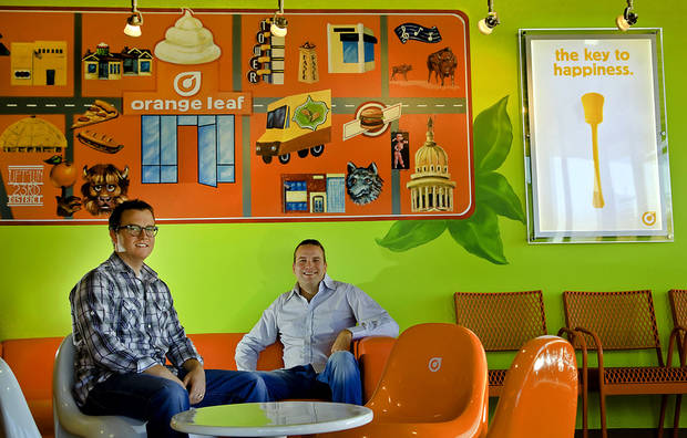 Ben Chamberlain and Josh Newberry, owners of the new Orange Leaf located in the 600 block of NW 23, pose for a photo Tuesday in Oklahoma City. Photo by Chris Landsberger, The Oklahoman <strong>CHRIS LANDSBERGER</strong>