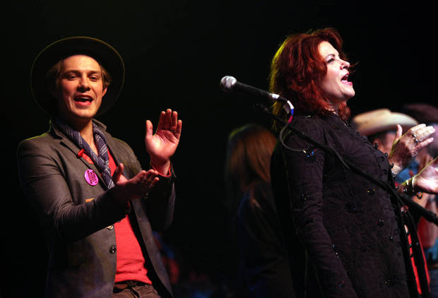 "Taylor Hanson and Rosanne Cash join all the peformers of the Woody Guthrie Centennial Concert in ""This Land is Your Land"" at the Brady Theater Saturday March 10, 2012 (AP Photo/Christopher Smith, Tulsa World) ORG XMIT: OKTUL108"