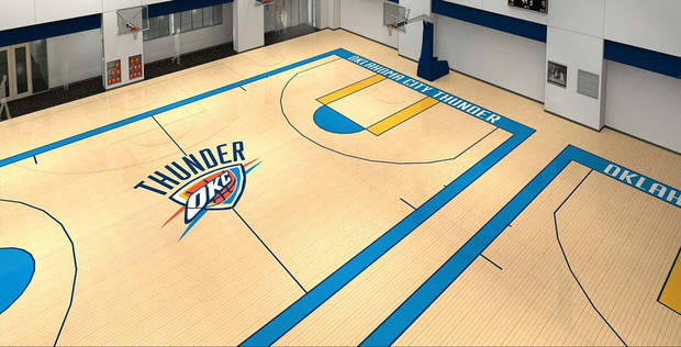 An artist's rendering of what the Oklahoma City Thunder's courts inside the practice facility will look like. PHOTO PROVIDED