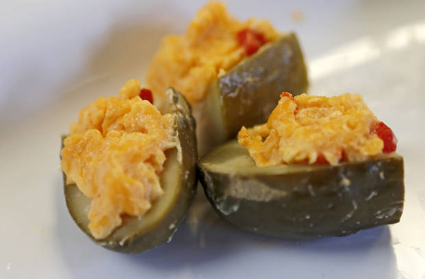 A plate of stuffed pickles at the Open Flame event at American Propane in Oklahoma City, Thursday, May 16, 2013. Photo by Bryan Terry, The Oklahoman <strong>Bryan Terry - THE OKLAHOMAN</strong>