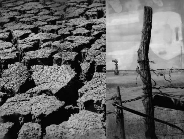 PHOTO COMPOSITE-TWO PHOTOS: Cracked earth is only one sign of the drought conditions, aggravated by a prolonged dry spell, which spread throughout southwestern Oklahoma and the Panhandle in 1970. Fence posts stand in parched fields. STAFF PHOTOS BY PAUL LONG, THE OKLAHOMAN