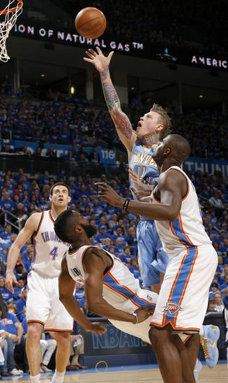 Denver&#039;s Chris Andersen (11) runs into Oklahoma City&#039;s James Harden (13) as  Nick Collison (4) and Nazr Mohammed (8) watch during the NBA basketball game between the Denver Nuggets and the Oklahoma City Thunder in the first round of the NBA playoffs at the Oklahoma City Arena, Sunday, April 17, 2011. Photo by Bryan Terry, The Oklahoman