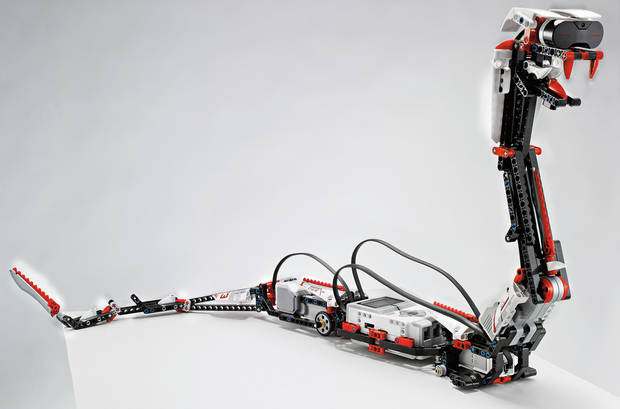 "Lego's new robotic snake ""Reptar"" is one of 17 possible creations available in a new kit, but NASA is asking people to design a remote operation system for a Lego rover as part of its International Space Apps Challenge taking place around the world, including in Norman, this weekend. AP PHOTO/LEGO <strong>Philip Elberling</strong>"