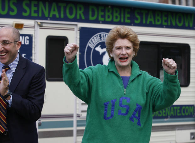   United States Sen. Debbie Stabenow, D-Mich., arrives at a campaign rally, Monday, Nov. 5, 2012, at &quot;The Rock&quot; on Michigan State University&#039;s campus in East Lansing, Mich. Stabenow is running against Pete Hoekstra, a former nine-term U.S. representative who left Congress to wage an unsuccessful campaign for governor in 2010. (AP Photo/Al Goldis)  
