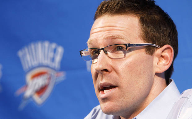 Oklahoma City Thunder general manager Sam Presti could be very active the this draft day.  By Paul Hellstern, The Oklahoman