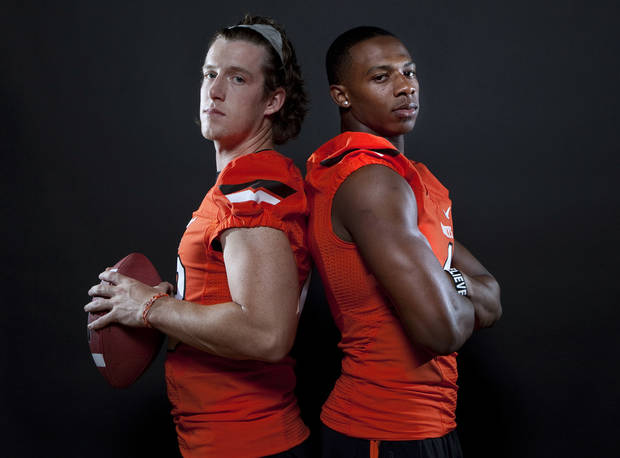 Oklahoma State's Justin Gilbert (4) and  Quin Sharp (13) pose for a photo during Oklahoma State's Football media day at  in Stillwater, Okla., Saturday, Aug. 6, 2011. Photo by Sarah Phipps, The Oklahoman