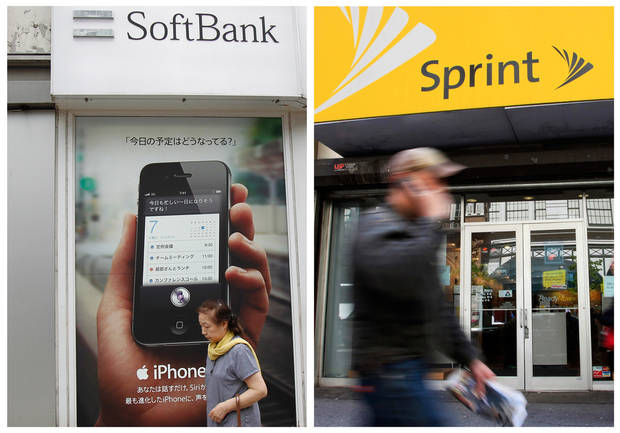 "FILE - In this combination of Associated Press file photo, a woman walks by a SoftBank shop in Tokyo Thursday, April 26, 2012, and a man walks past a Sprint store, Tuesday, April 27, 2010 in New York. Japanese cellphone company Softbank Corp. was in talks Thursday about taking a substantial ownership stake in struggling U.S. carrier Sprint Nextel Corp. Sprint, the third-largest cellphone company in the U.S., said the deal could be big enough to involve a ""change of control"" of the company. It didn't provide any other details. (AP Photo)"