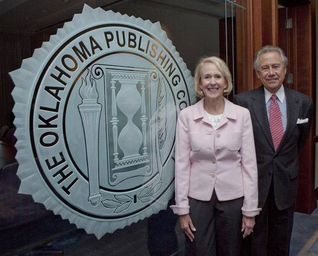 Christy Everest, Chairman and CEO of OPUBCO with Philip Anschutz, a Denver businessman, after they announced that The Anschutz Corporation will be purchasing all assets of OPUBCO, Thursday, September 15, 2011 . Photo by Doug Hoke, The Oklahoman.