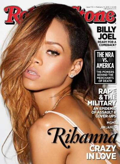 Rihanna is on the cover of the February issue of Rolling Stone magazine.