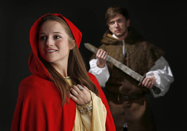 "Allyson Capetta, left, and Mason Pain with the Oklahoma Shakespeare in the Park production of ""Cymbeline"" pose for a photo in Oklahoma City, Wednesday, July 18, 2012. Photo by Bryan Terry, The Oklahoman"