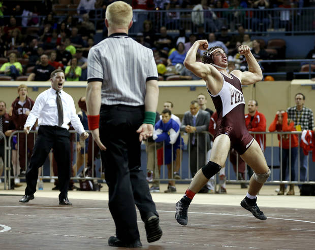 Perry's David Thomas celebrates after beating Plainview's Drake Martel in the Class 3A 160-pound championship match during the state wrestling championships at the State Fair Arena in Oklahoma City, Saturday, Feb. 23, 2013. Photo by Bryan Terry, The Oklahoman