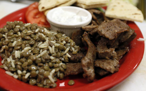 A gyro platter at Simply Falafel, 343 S. Blackwelder, in Edmond. Photo by Nate Billings, The Oklahoman <strong>NATE BILLINGS - NATE BILLINGS</strong>