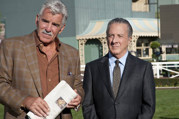 From left, Dennis Farina and Dustin Hoffman in &quot;Luck&quot; - HBO Photo
