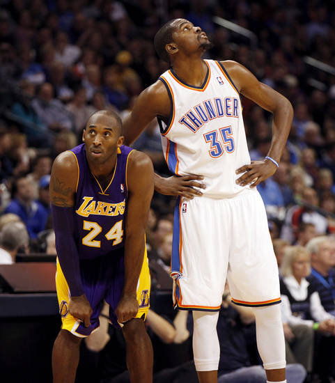 Los Angeles' Kobe Bryant (24) and Oklahoma City's Kevin Durant (35) stand next to each other during an NBA basketball game between the Oklahoma City Thunder and the Los Angeles Lakers at Chesapeake Energy Arena in Oklahoma City, Friday, Dec. 7, 2012. Oklahoma City won, 114-108. Photo by Nate Billings, The Oklahoman
