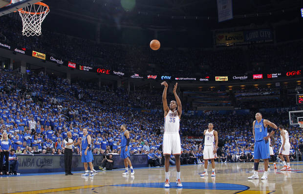 Oklahoma City's Kevin Durant (35) shoots a technical shot during game 3 of the Western Conference Finals of the NBA basketball playoffs between the Dallas Mavericks and the Oklahoma City Thunder at the OKC Arena in downtown Oklahoma City, Saturday, May 21, 2011. Photo by Chris Landsberger, The Oklahoman