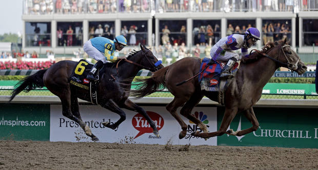 Jockey Mario Gutierrez rides I'll Have Another to victory in the 138th Kentucky Derby horse race at Churchill Downs Saturday, May 5, 2012, in Louisville, Ky. (AP Photo/Morry Gash)  ORG XMIT: DBY