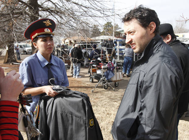 "Actress Lidiya Korotko and Producer Peter Zhmutski discuss a scene for the 3-D horror / sci-fi movie ""Higher Mission"", being filmed in part at the Scottish Rite Tempel in Guthrie, OK, Friday, February 8, 2013,  By Paul Hellstern, The Oklahoman"