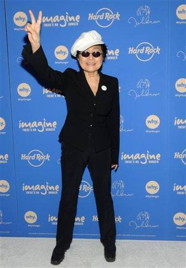 IMAGE DISTRIBUTED FOR HARD ROCK -  Yoko Ono Lennon appears at Hard Rock Cafe New York, Monday, Nov. 19, 2012, to launch Hard Rock's fifth annual IMAGINE THERE'S NO HUNGER campaign.  Proceeds from the campaign benefit WhyHunger and its grassroots partners combating childhood hunger and poverty worldwide.    Diane Bondareff/Invision for Hard Rock International/AP Images)