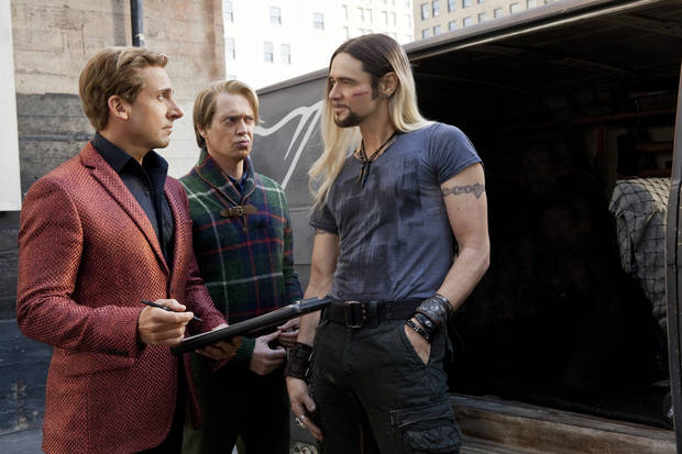 "This film image released by Warner Bros. Pictures shows, from left, Steve Carrell, Steve Buscemi and Jim Carrey in a scene from, ""The Incredible Burt Wonderstone."" (AP Photo/Warner Bros. Pictures, Ben Glass)  ORG XMIT: NYET316"