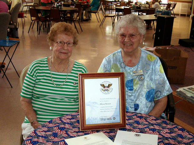 Julia Chipley and Millie Runyon proudly wear their pins and display the certificate and letters they received.<br/><b>Community Photo By:</b> Karen Thompson<br/><b>Submitted By:</b> linda,