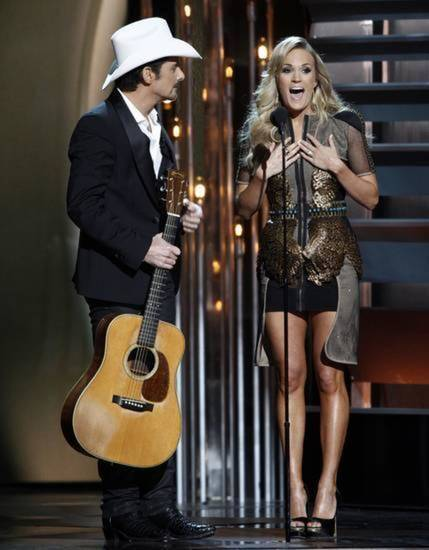 Brad Paisley and Carrie Underwood co-host the 47th Annual CMA Awards Wednesday in 2013 in Nashville, Tenn. AP file photo