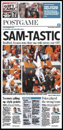 The page from the Oklahoman featuring Sam Bradford's flip.