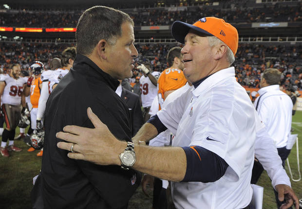 Denver Broncos head coach John Fox greets Tampa Bay Buccaneers head coach Greg Schiano at the end of an NFL football game, Sunday, Dec. 2, 2012, in Denver. Denver won 31-23 and clinched the AFC West division. (AP Photo/Jack Dempsey)