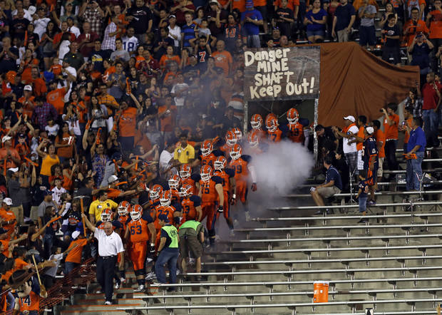 UTEP takes to the field during the college football game between the University of Oklahoma Sooners (OU) and the University of Texas El Paso Miners (UTEP) at Sun Bowl Stadium on Saturday, Sept. 1, 2012, in El Paso, Tex.  Photo by Chris Landsberger, The Oklahoman