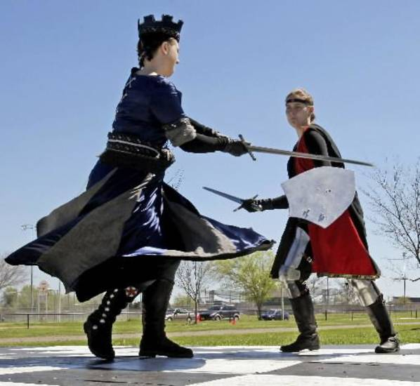 Jenny Long (left) and Jocelyn Roberts participate in dress rehearsals for Norman Medieval Fair on Saturday, March 24, 2012, in Norman, Okla. Photo by Steve Sisney, The Oklahoman