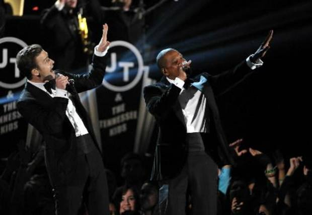 Justin Timberlake, left, and Jay-Z perform on stage at the 55th annual Grammy Awards on Sunday, Feb. 10, 2013, in Los Angeles. (AP)