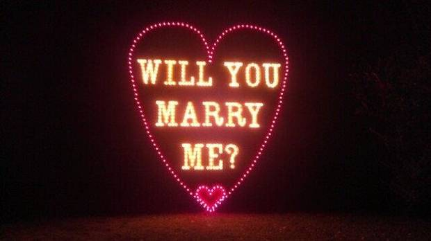"Couples who wish to get engaged may find a use for the new ""Will You Marry Me"" display as part of Yukon's Christmas in the Park. Photo provided. <strong></strong>"