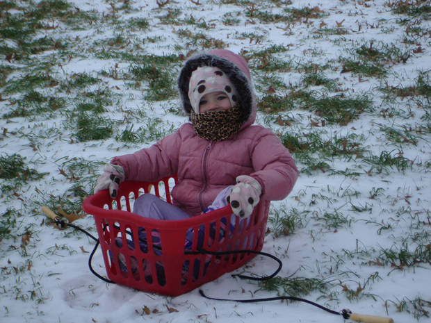 We didn't have a sled when we invited our niece over, so we improvised!!!<br/><b>Community Photo By:</b> Teresa Miller<br/><b>Submitted By:</b> Teresa, Bethany