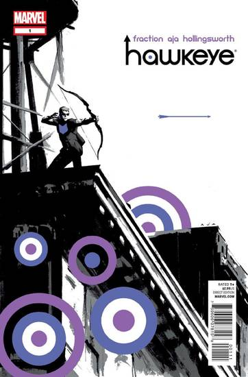 "The cover to ""Hawkeye"" No. 1.  Marvel Comics. <strong></strong>"
