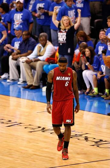 Miami's LeBron James (6) walks towards the bench during Game 1 of the NBA Finals between the Oklahoma City Thunder and the Miami Heat at Chesapeake Energy Arena in Oklahoma City, Tuesday, June 12, 2012. Photo by Nate Billings, The Oklahoman