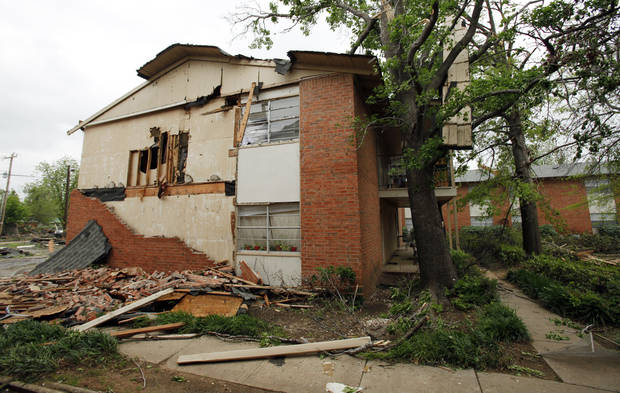 Damage is seen on Saturday, April 14, 2012, in Norman, Okla.  West Oaks Apartments lost windows, walls and roof during Friday's tornado.  Photo by Steve Sisney, The Oklahoman
