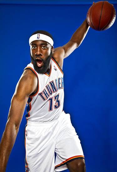 NBA BASKETBALL TEAM:  JAMES HARDEN poses for a photo during the Oklahoma City Thunder media day on Monday, Sept. 27, 2010, in Oklahoma City, Okla.   Photo by Chris Landsberger, The Oklahoman