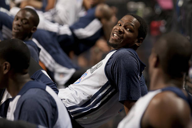 KD in Manchester. (AP Photo/Jon Super)
